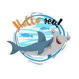 Hello sea cartoon badge with trendy design cartoon cheerful cute hammerhead shark with fish silhouettes. Summer and sea party moti. Vation poster. Vector Stock Images