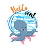 Hello sea cartoon badge with trendy design cartoon cheerful octopus. Summer and sea party motivation poster. Vector illustration Stock Photo