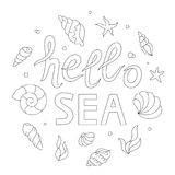 Hello sea lettering, adult coloring page. Stock Images