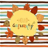 Hellor autumn flyer template with lettering. Bright fall leaves. Poster, card, label, banner design. Vector illustration royalty free stock image