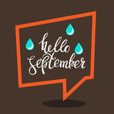 Hello september autumn flyer template with lettering. Poster, card, label, banner design. Vector illustration EPS10 Stock Images