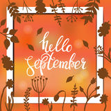 Hello september card design with abstract background and text in square frame, vector illustration. Lettering design. Element Stock Images