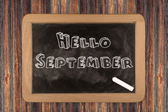 Hello September  - chalkboard Royalty Free Stock Image
