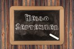 Hello September  - chalkboard Royalty Free Stock Image