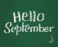 Hello September, de kaart van de krijttekst voor nieuw stading jaar Royalty-vrije Stock Afbeeldingen
