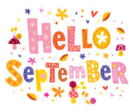 Hello September. Greeting card design Royalty Free Stock Images