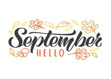 Hello September hand drawn lettering card with doodle leaves and mushrooms. Inspirational autumn quote. royalty free stock photos