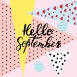 Hello September hand het van letters voorzien, citaten Moderne motivatie callig Stock Fotografie