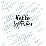 Hello September hand het van letters voorzien, citaten Moderne motivatie callig Royalty-vrije Stock Afbeelding