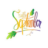Hello September. Hello September hand lettering calligraphy Royalty Free Stock Photography