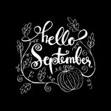 Hello September. Hand lettering calligraphy Royalty Free Stock Photo