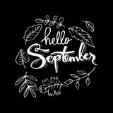 Hello September. Hand lettering calligraphy Stock Photo