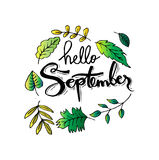 Hello September. Hand lettering calligraphy Royalty Free Stock Photography