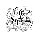 Hello September. Hand lettering calligraphy Stock Photos