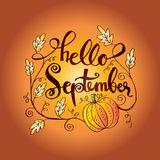 Hello September. Hand lettering calligraphy Royalty Free Stock Photos