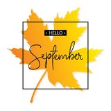 Hello September kalligrafiinskrift Autumn Banner Template Arkivbild