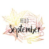 Hello September poster with leaves, book, paper and pencil. Motivational print for calendar, glider, invitation cards. Hello September  poster with leaves, book Stock Photography