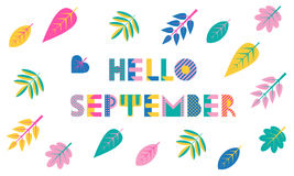Hello SEPTEMBER. Trendy geometric font in memphis style of 80s-90s. Abstract geometric background Royalty Free Stock Image