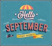 Hello september typografisk design. Arkivbild