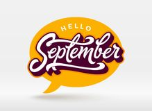 Hello September typography with speech bubble on white background. Brush lettering for banner, poster, greeting card Stock Photos