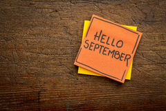 Hello September welcome note Stock Photography