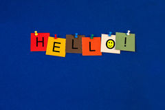 Hello sign for business lectures, seminars and presentations, wi Royalty Free Stock Photos