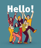 Hello sign team group business people. Royalty Free Stock Photography