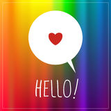 Hello sign, type, text. Hello type, text, speech bubble, vector communication symbol, colorful background. Hello sign, with heart shape vector illustration