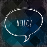 Hello sign, type, text. Hello type, text, speech bubble, vector communication symbol, grunge background. Hello sign, with heart shape stock illustration