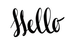 Hello sign on white background, isolated, illustration. Handwritten calligraphy black text Hello. Sign stock illustration