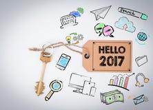 Hello 2017 Sleutel op een witte achtergrond Stock Afbeeldingen