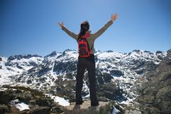 Hello snow mountain Royalty Free Stock Photography