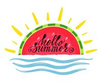 Hello sommar stock illustrationer