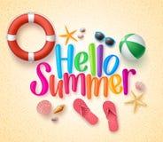 Hello sommar i den färgrika texten och bakgrunden för sand vektor illustrationer