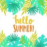 Hello sommar Ljus och härlig kortmall Arkivbilder
