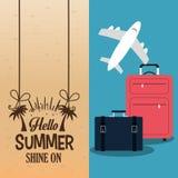 Hello sommar med den plana affischen för resväskor stock illustrationer