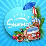 Hello sommar med tropiska sidor, rundapapper, baner, affisch, på randig sommarbakgrund stock illustrationer