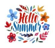 Hello sommar som märker bukettbows figure seamless litet för blommamodell Royaltyfri Foto