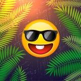 Hello sommaraffisch Mall för sommarpartidesign med emojileendeframsidan på palmbladbakgrund stock illustrationer