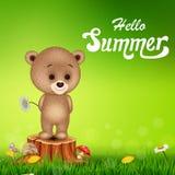 Hello sommarbakgrund med den lilla björnen på trädstubbe Arkivfoto