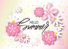 Hello sommarbakgrund med härliga blommor Hälsningkort med hand dragen bokstäver Vektorillustrationmall, baner WA Royaltyfria Bilder
