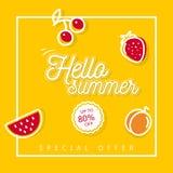 Hello sommarbaner med frukter på gul bakgrund Royaltyfri Fotografi