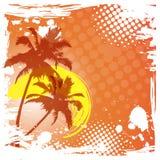 Hello sommarbokstäver PALMTRÄDLUTNINGSOLNEDGÅNG tropiskt bakgrundsparadis stock illustrationer