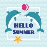 Hello sommarkort med att spela delfin Fotografering för Bildbyråer