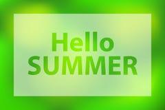 Hello sommarord p? ett ljust - gr?n bakgrund Affisch med den vita genomskinliga ramen stock illustrationer