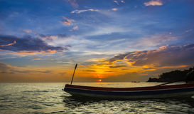 Hello Songkhla morning sea and sky. The sea view of Songkhla and fishing boats fishing life Royalty Free Stock Images