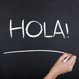 Hello Spaanse Hola royalty-vrije stock fotografie