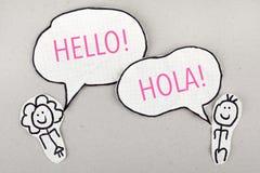 Hello spanskt språk som talar Hola Arkivbilder