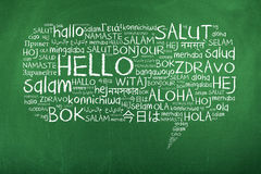 Hello Speech Bubble in Different Languages. Hello in many different languages in speech bubble stock image
