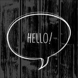 Hello speech bubble. Sign, vector comunication symbol, on wood background stock illustration